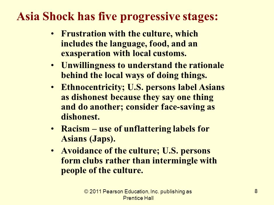Asia Shock has five progressive stages: