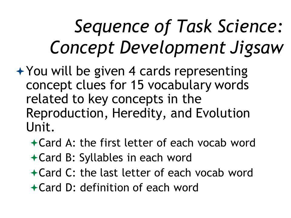 Sequence of Task Science: Concept Development Jigsaw