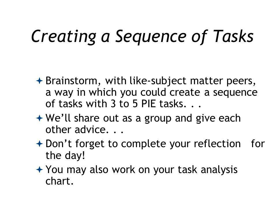 Creating a Sequence of Tasks