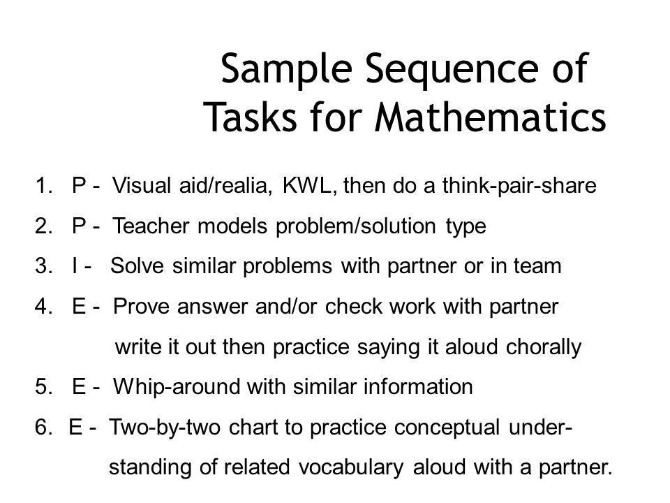 Sample Sequence of Tasks for Mathematics