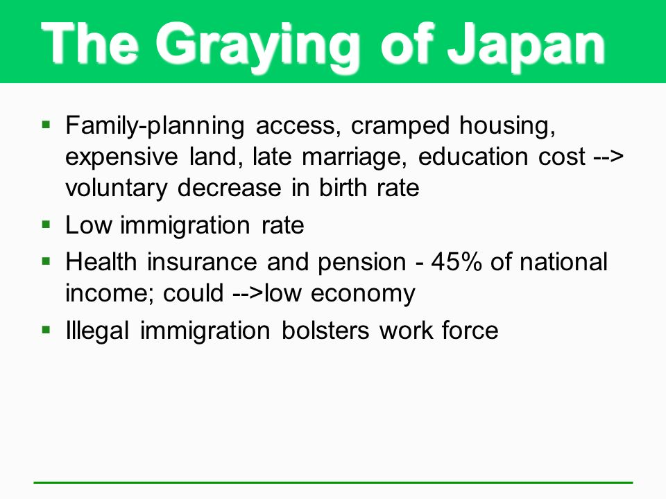 The Graying of Japan Family-planning access, cramped housing, expensive land, late marriage, education cost --> voluntary decrease in birth rate.