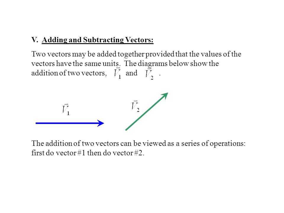 V. Adding and Subtracting Vectors: