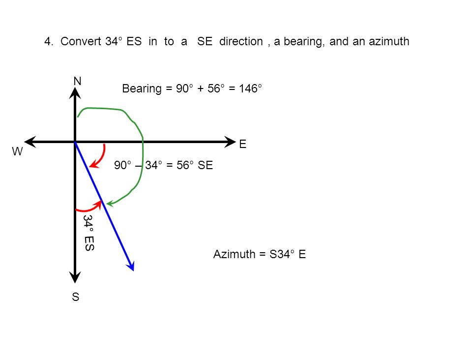 4. Convert 34° ES in to a SE direction , a bearing, and an azimuth