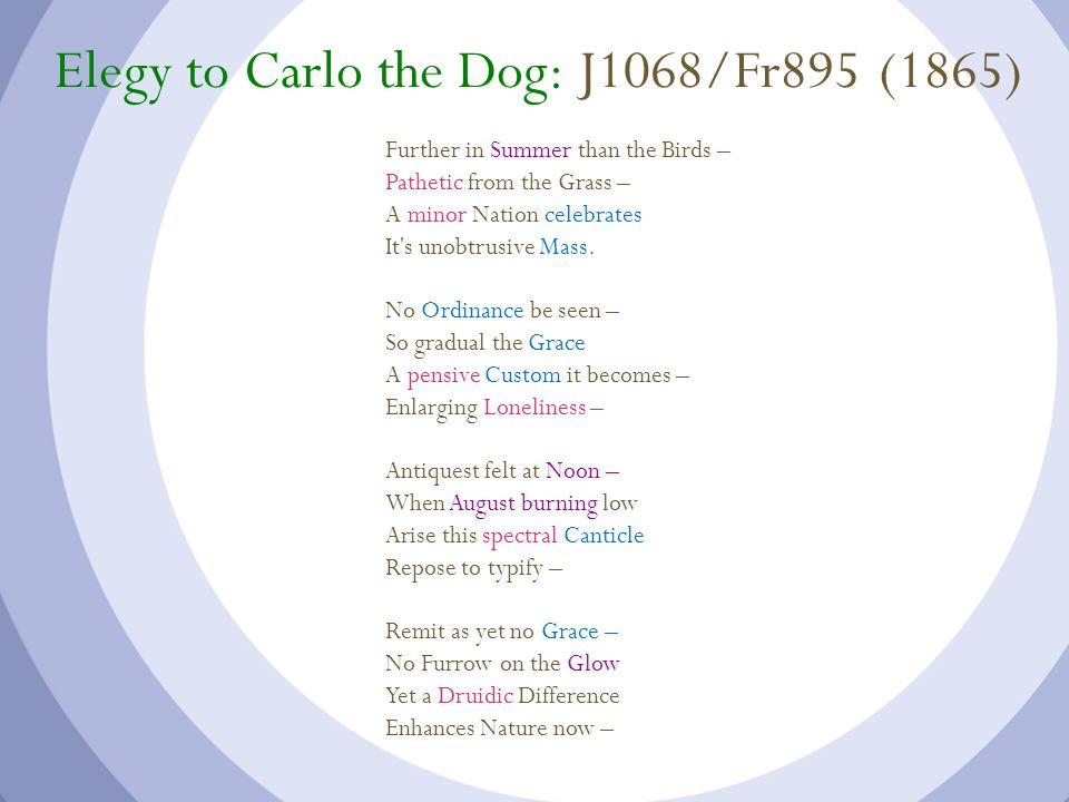 Elegy to Carlo the Dog: J1068/Fr895 (1865)