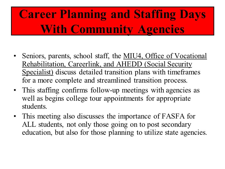 Career Planning and Staffing Days With Community Agencies