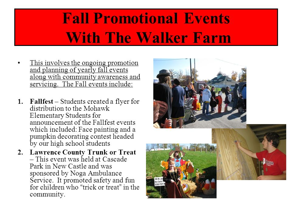 Fall Promotional Events With The Walker Farm