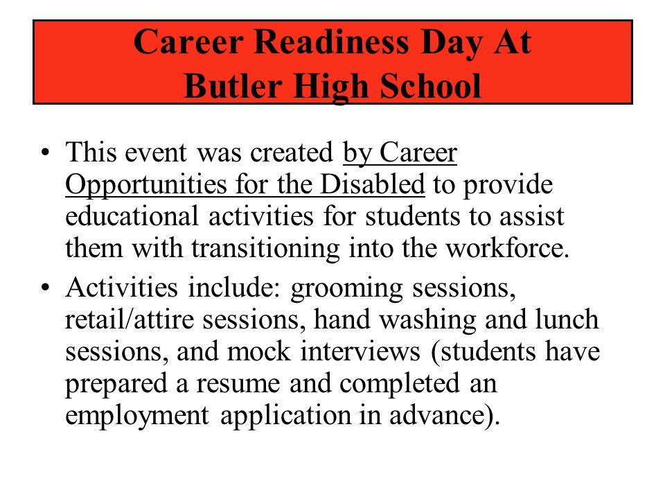 Career Readiness Day At Butler High School