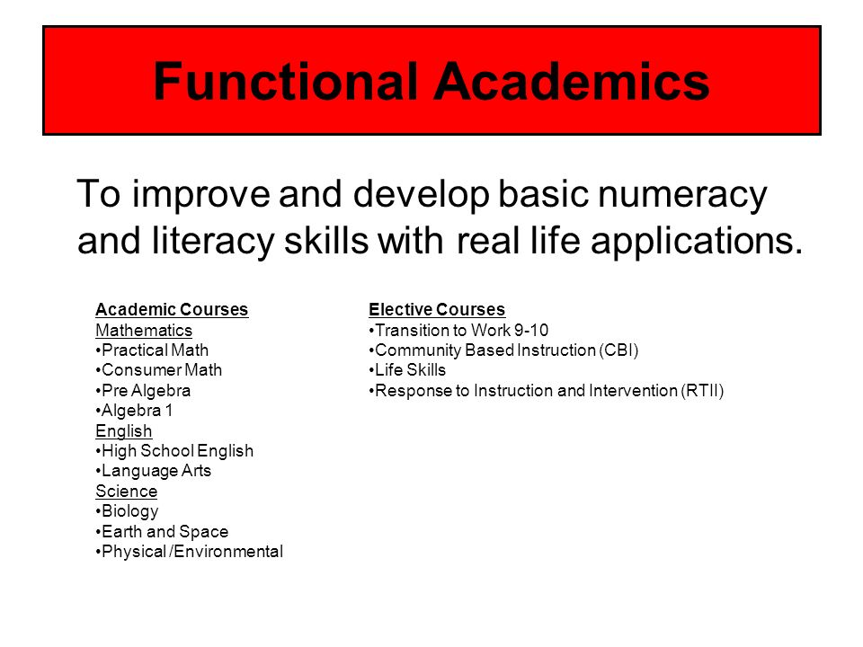Functional Academics To improve and develop basic numeracy and literacy skills with real life applications.