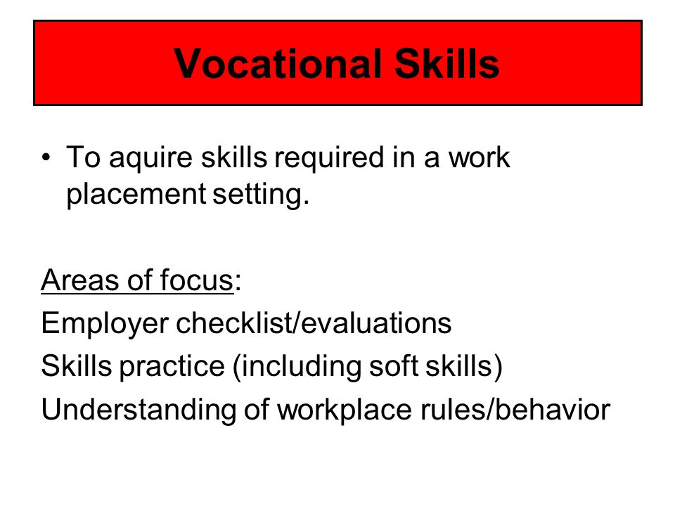 Vocational Skills To aquire skills required in a work placement setting. Areas of focus: Employer checklist/evaluations.