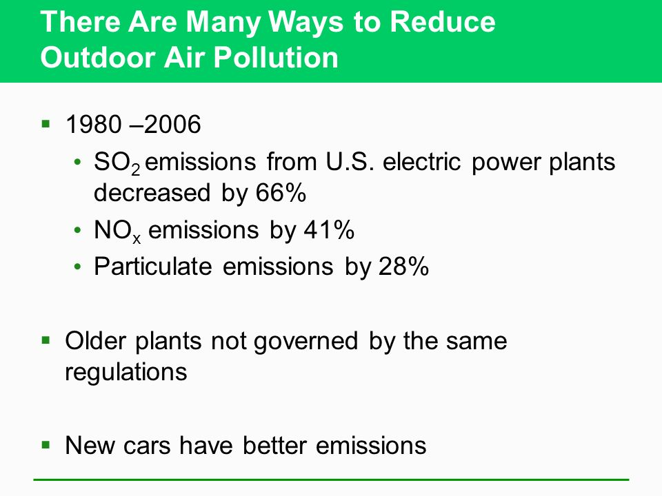 There Are Many Ways to Reduce Outdoor Air Pollution