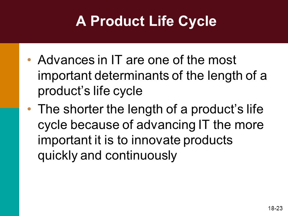 A Product Life Cycle Advances in IT are one of the most important determinants of the length of a product's life cycle.