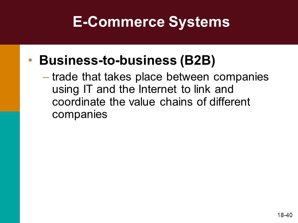 E-Commerce Systems Business-to-business (B2B)