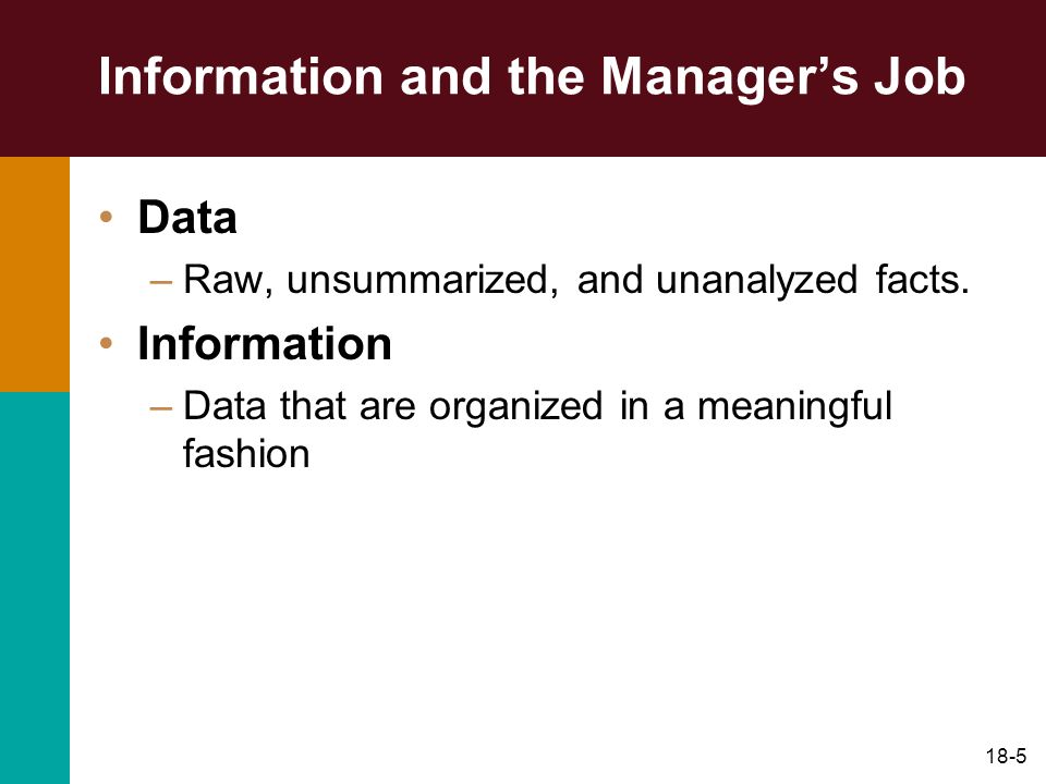 Information and the Manager's Job