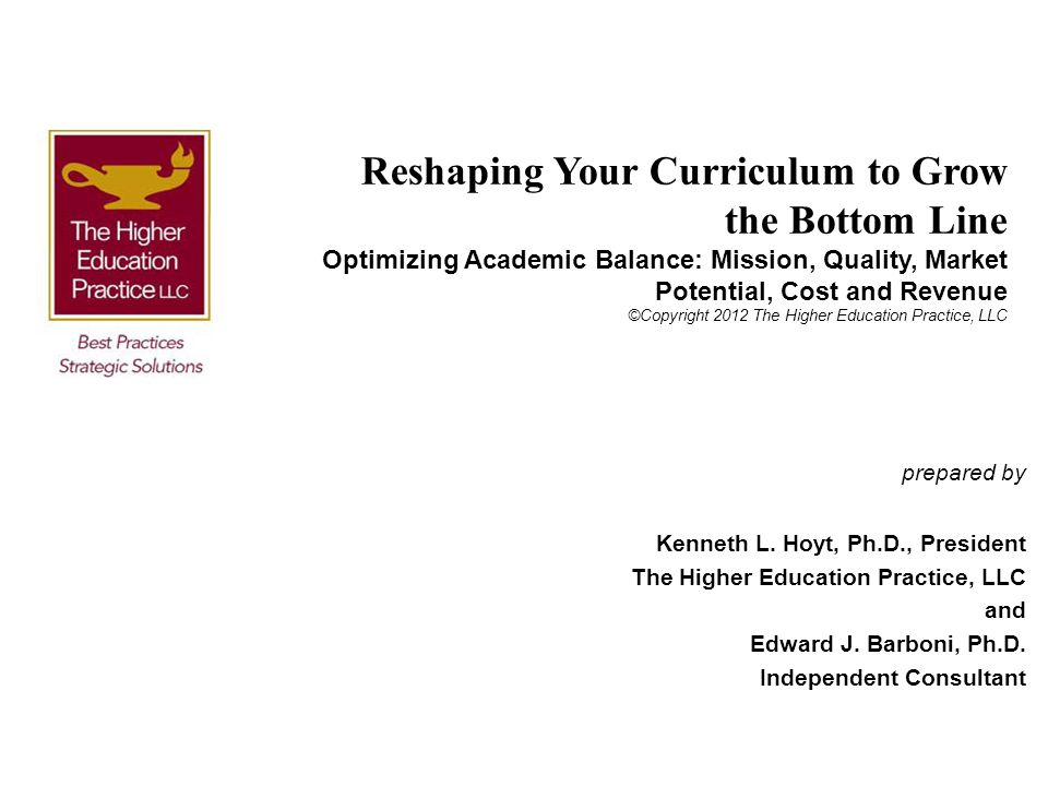Reshaping Your Curriculum to Grow the Bottom Line