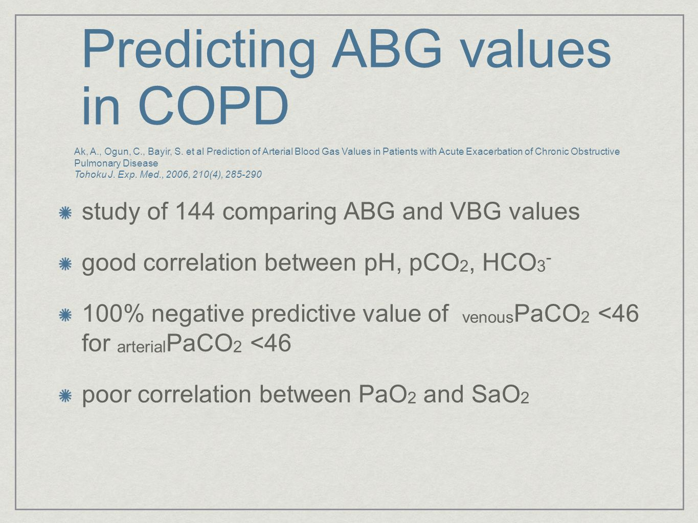Predicting ABG values in COPD