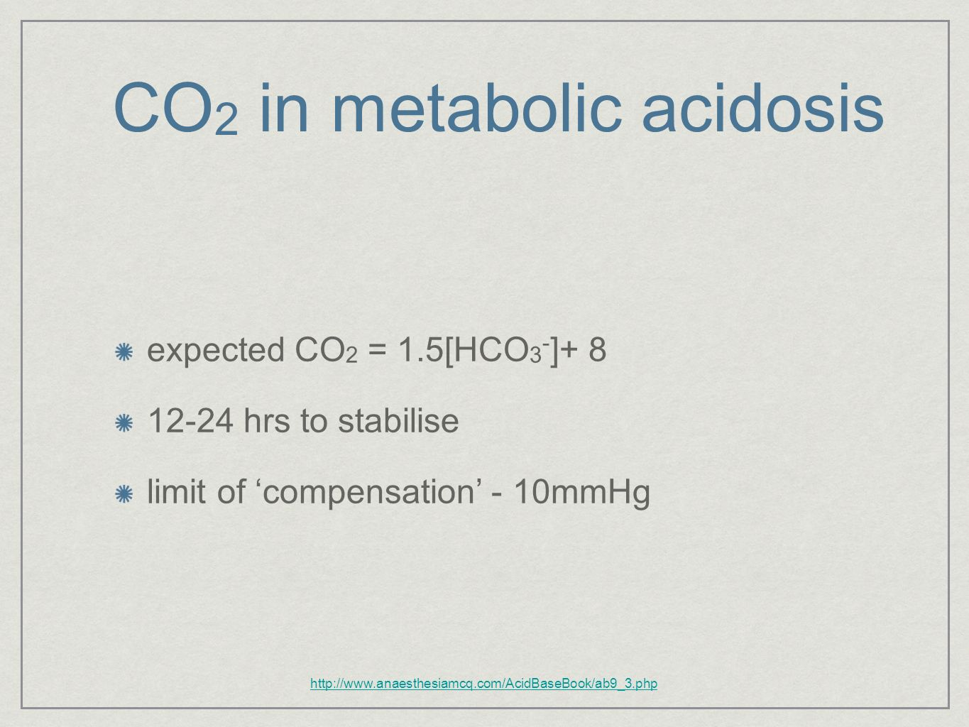 CO2 in metabolic acidosis