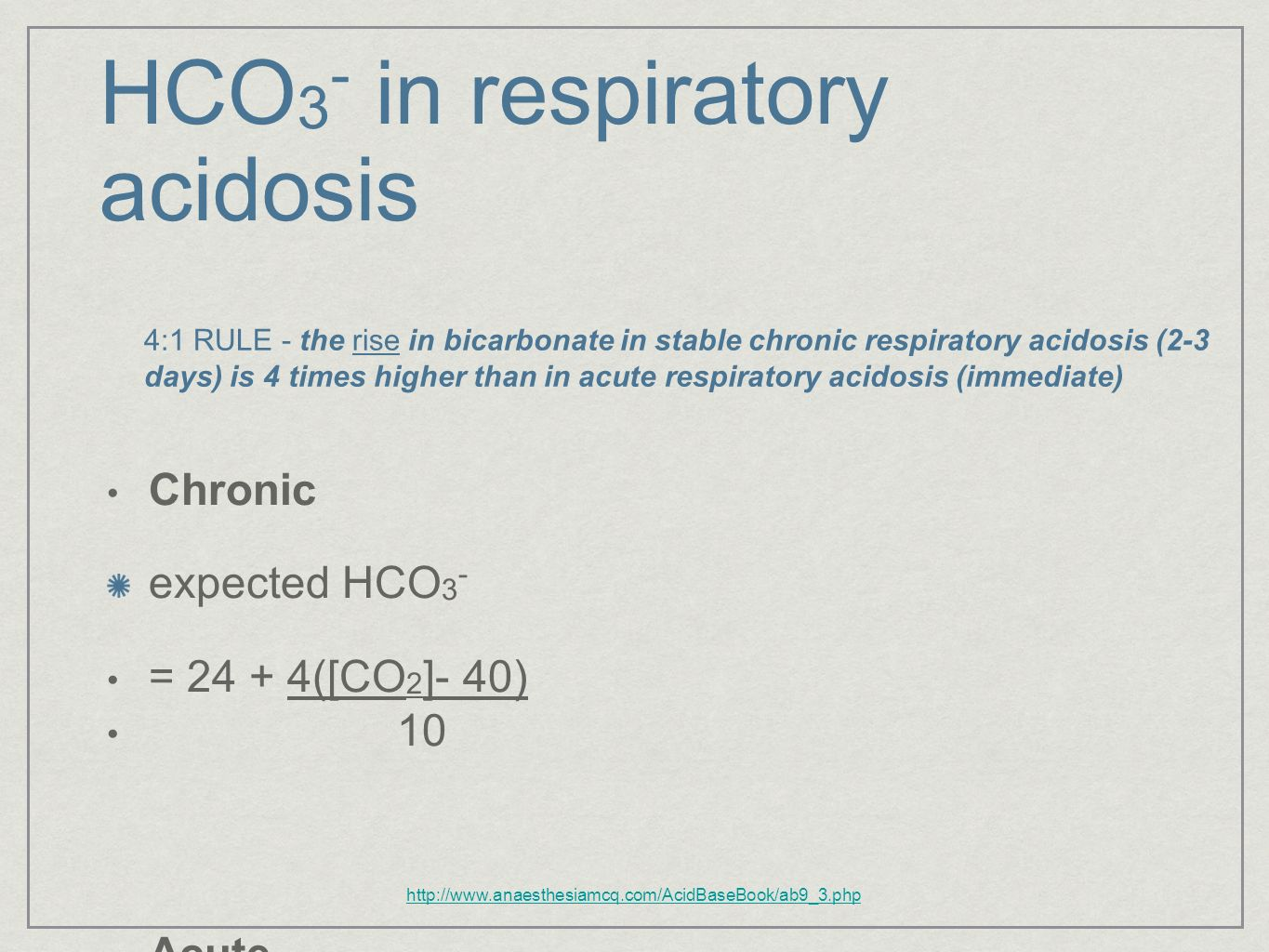 HCO3- in respiratory acidosis