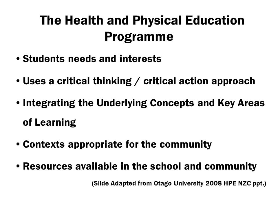 The Health and Physical Education Programme
