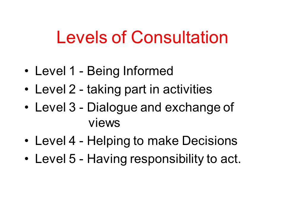 Levels of Consultation