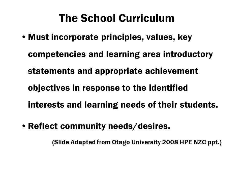 The School Curriculum