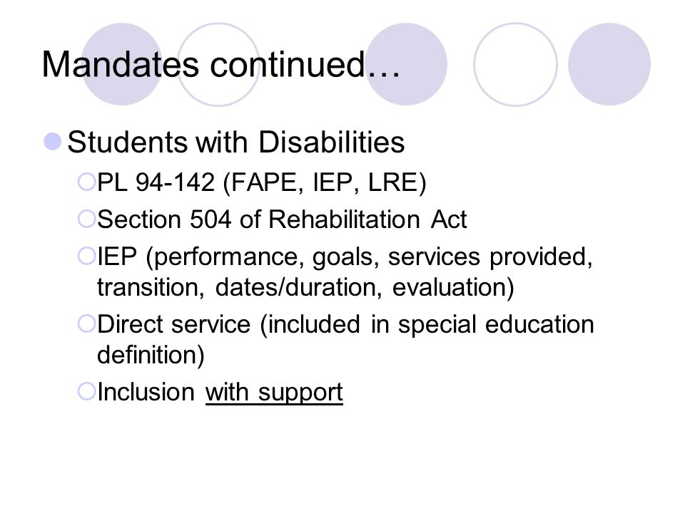 Mandates continued… Students with Disabilities