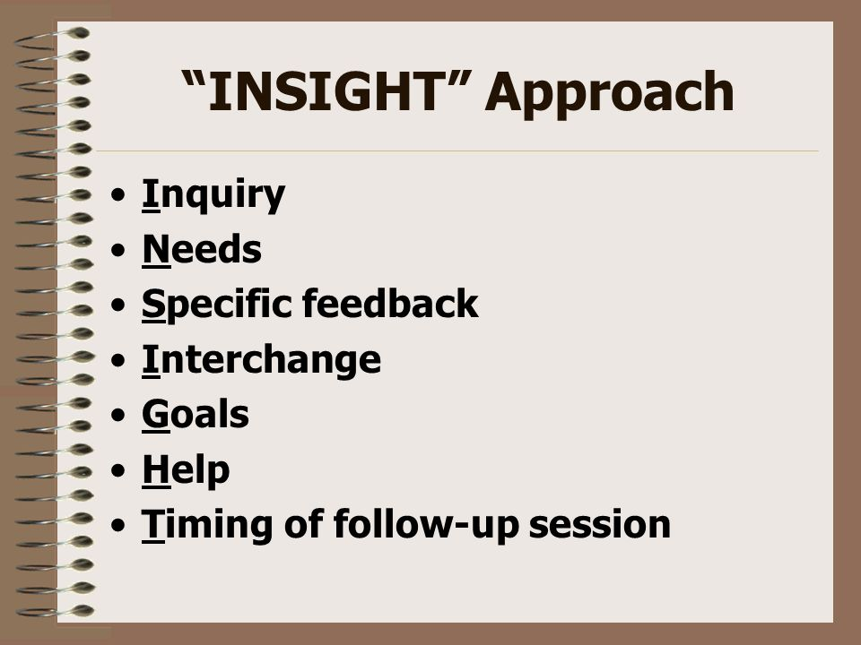 INSIGHT Approach Inquiry Needs Specific feedback Interchange Goals