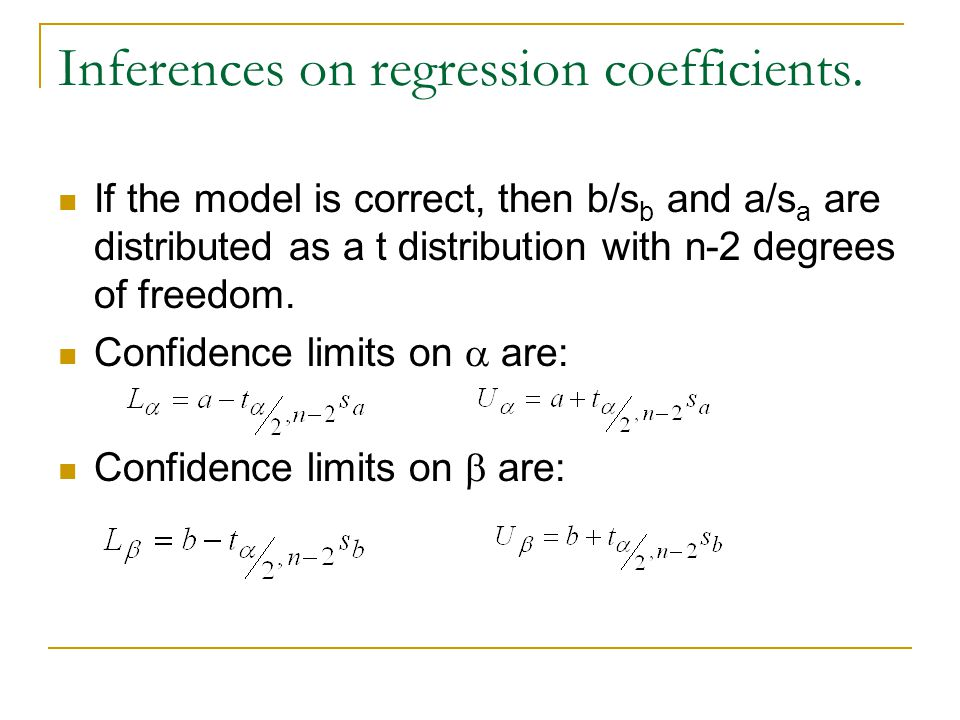 Inferences on regression coefficients.