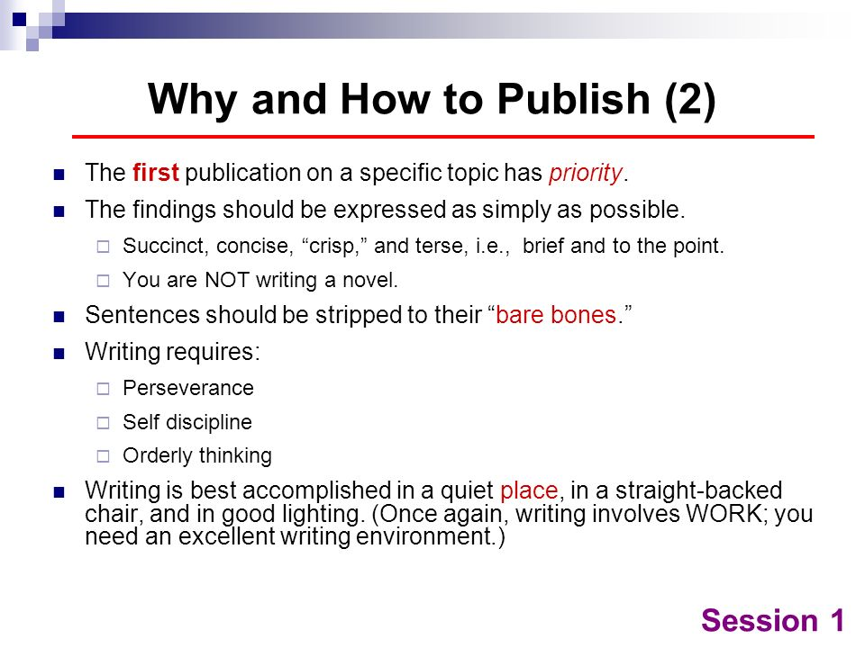 Why and How to Publish (2)