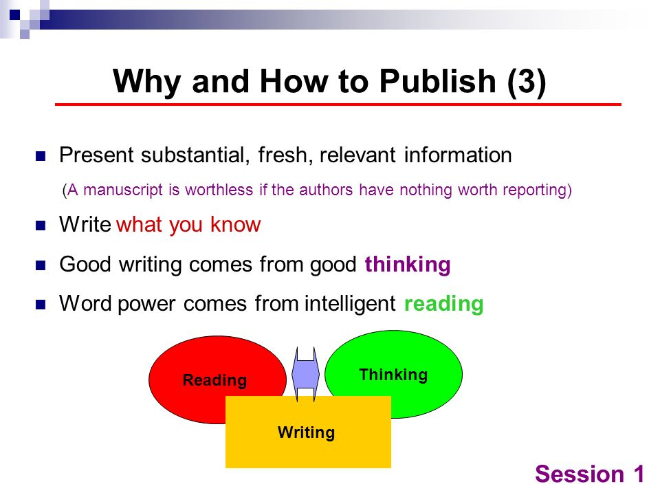 Why and How to Publish (3)