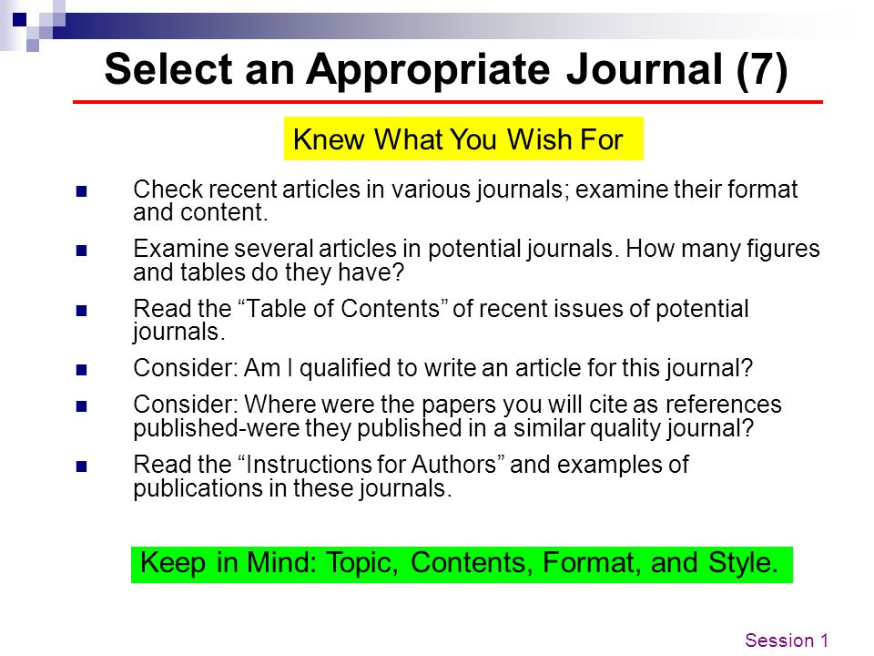 Select an Appropriate Journal (7)