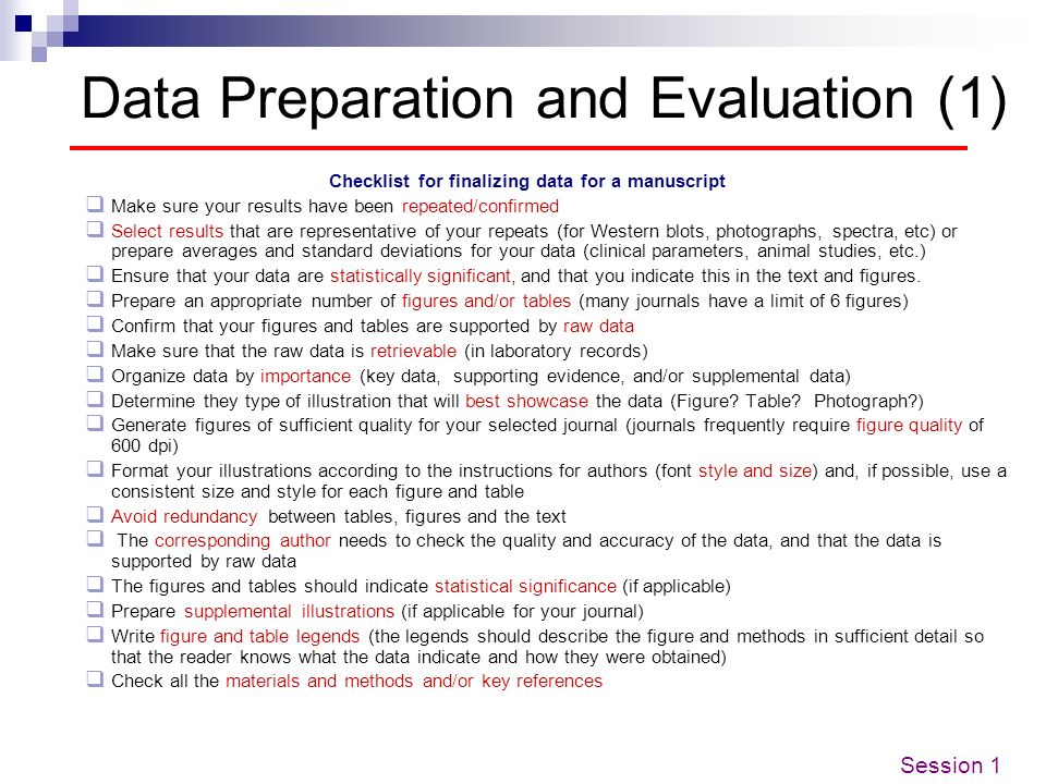 Data Preparation and Evaluation (1)