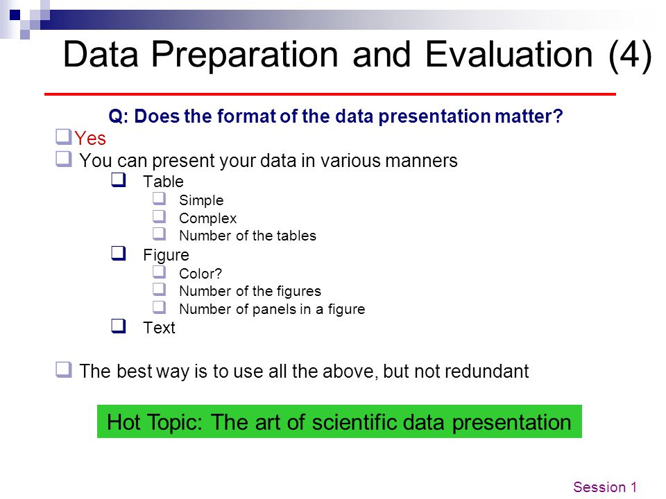 Data Preparation and Evaluation (4)