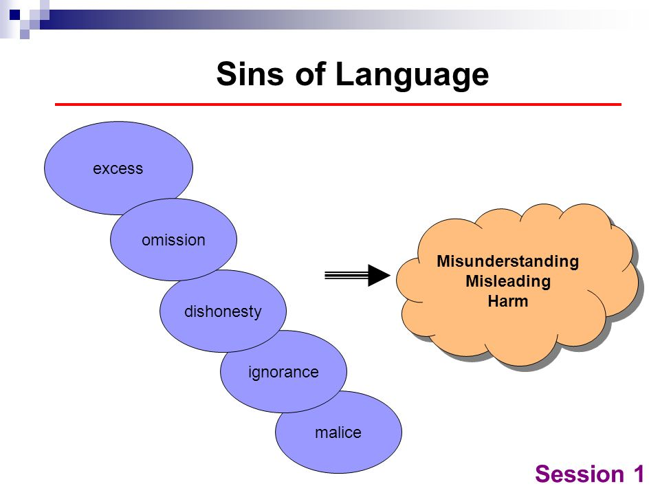 Sins of Language Session 1 excess omission Misunderstanding Misleading