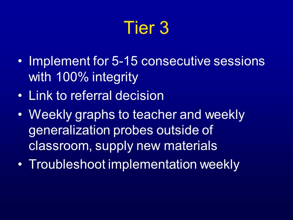 Tier 3 Implement for 5-15 consecutive sessions with 100% integrity
