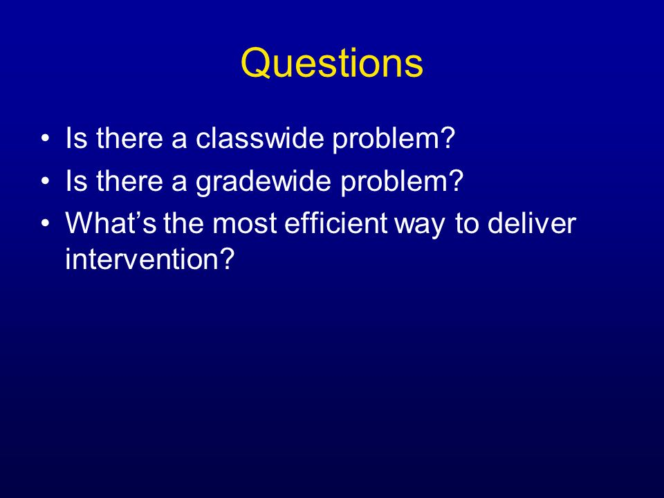 Questions Is there a classwide problem Is there a gradewide problem