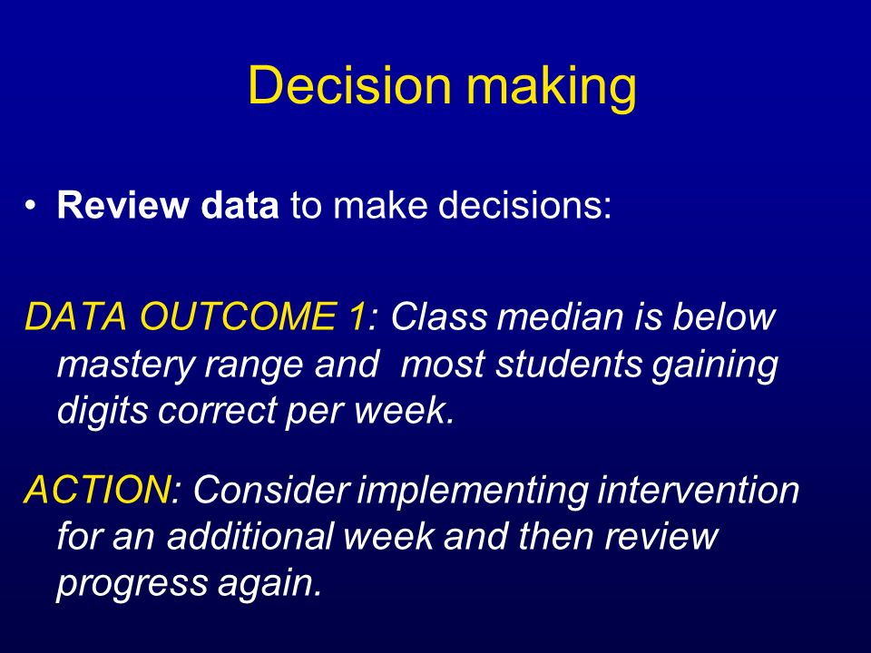 Decision making Review data to make decisions: