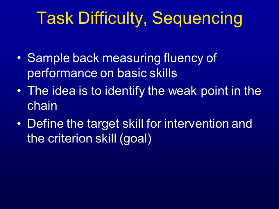 Task Difficulty, Sequencing