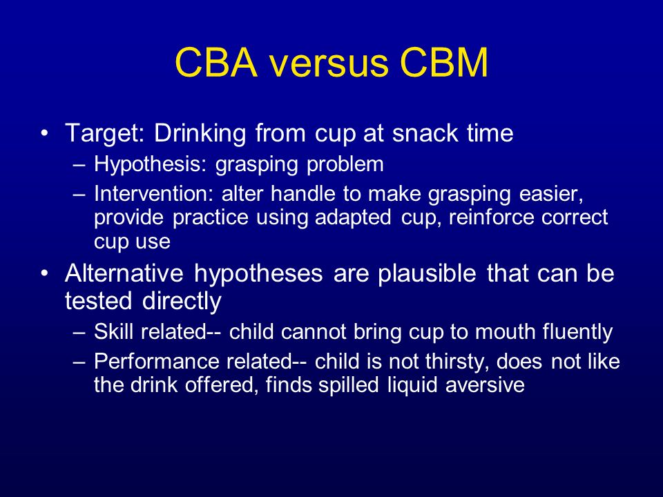 CBA versus CBM Target: Drinking from cup at snack time