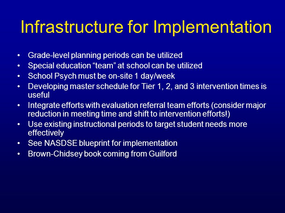 Infrastructure for Implementation