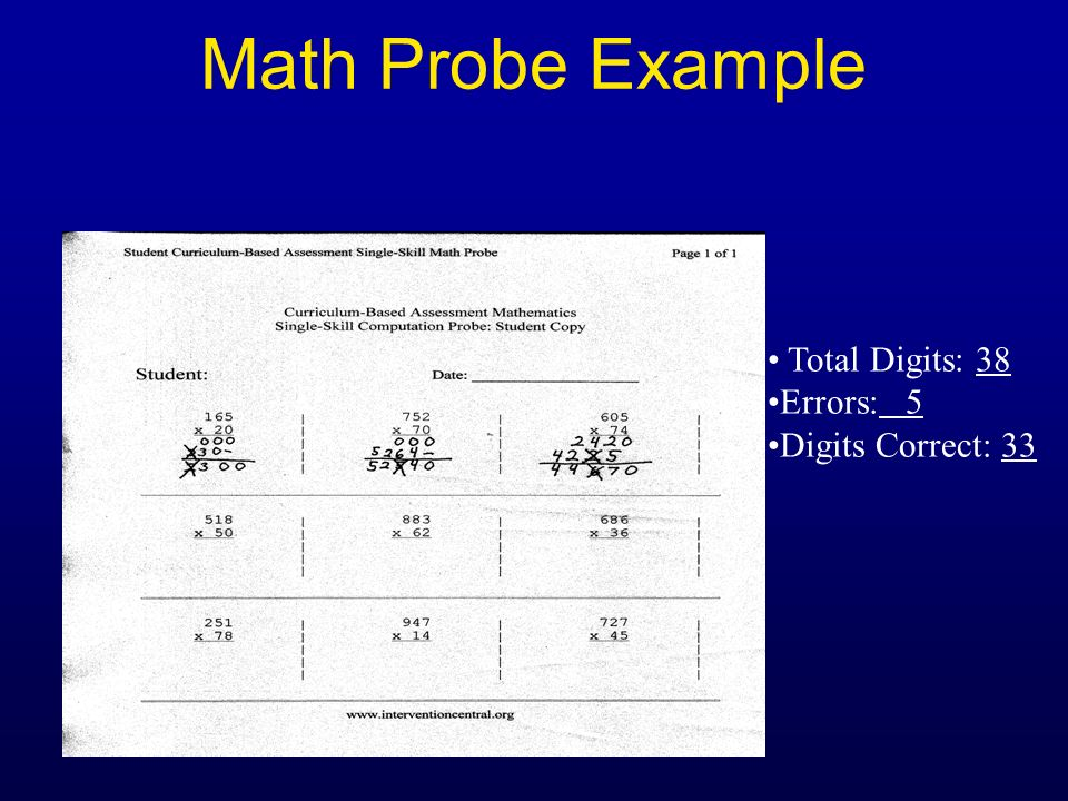 Math Probe Example Total Digits: 38 Errors: 5 Digits Correct: 33