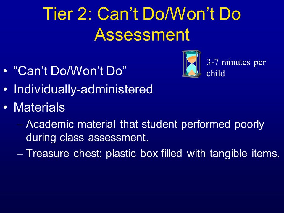 Tier 2: Can't Do/Won't Do Assessment