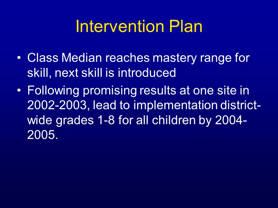 Intervention Plan Class Median reaches mastery range for skill, next skill is introduced.