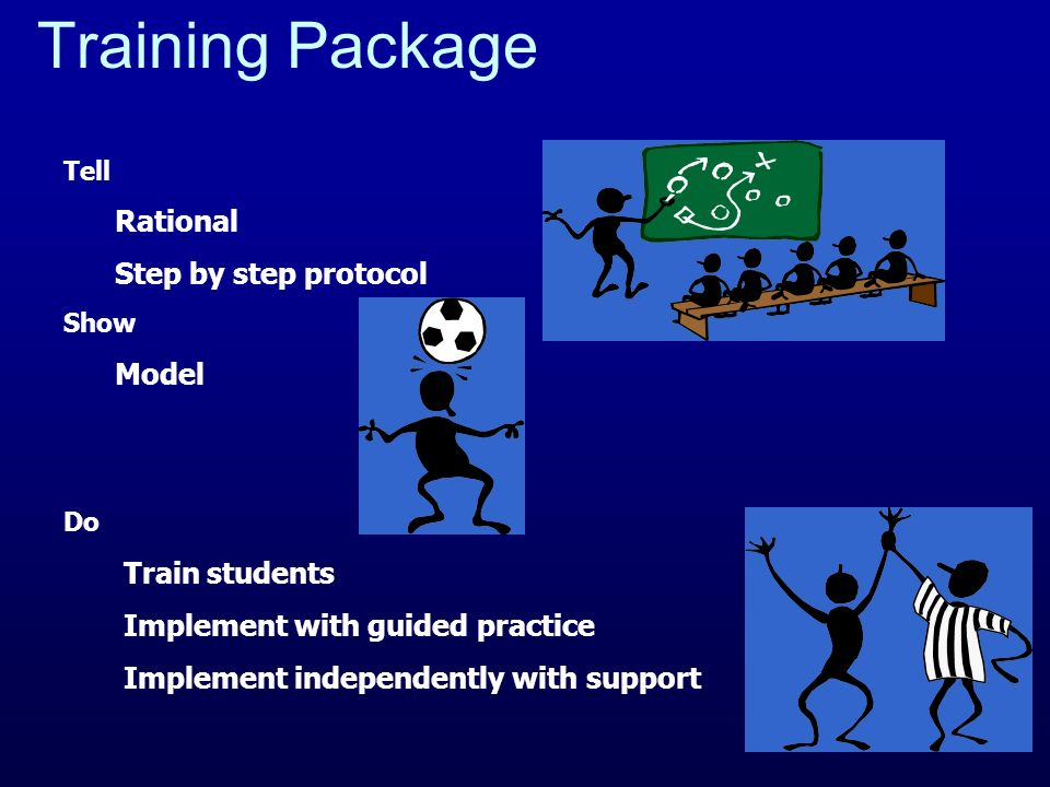 Training Package Rational Step by step protocol Model Train students