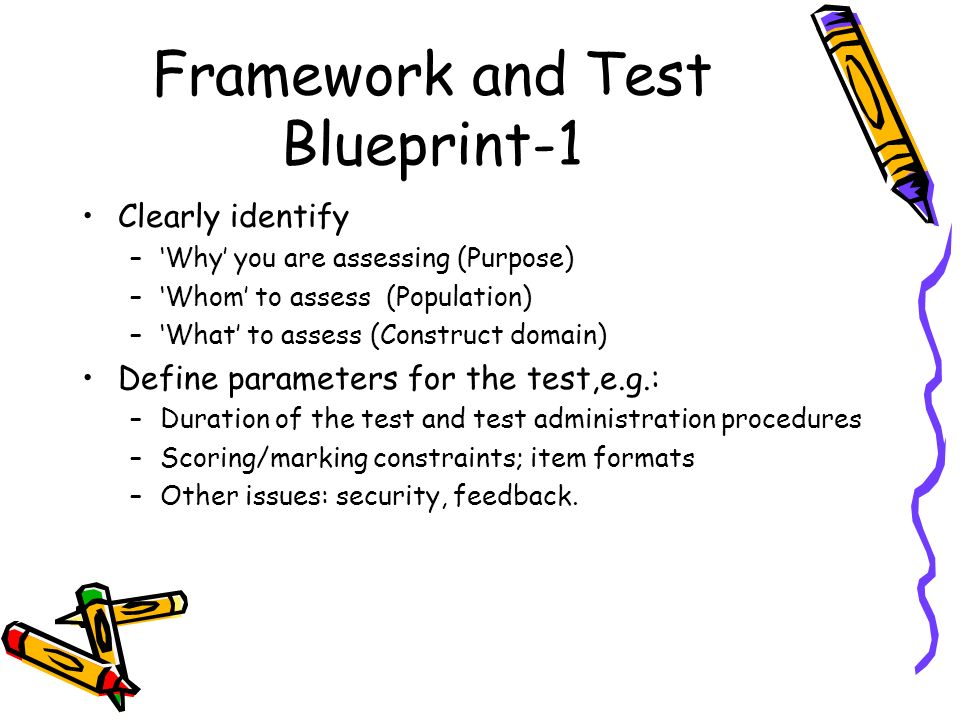 Test and scale development ppt video online download framework and test blueprint 1 malvernweather Image collections