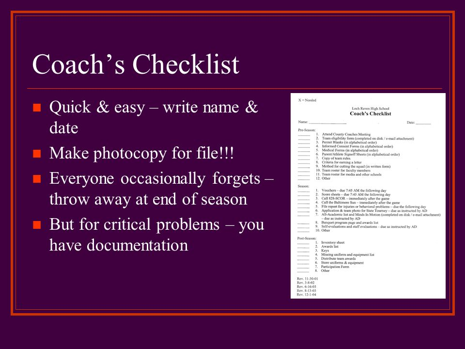 Coach's Checklist Quick & easy – write name & date