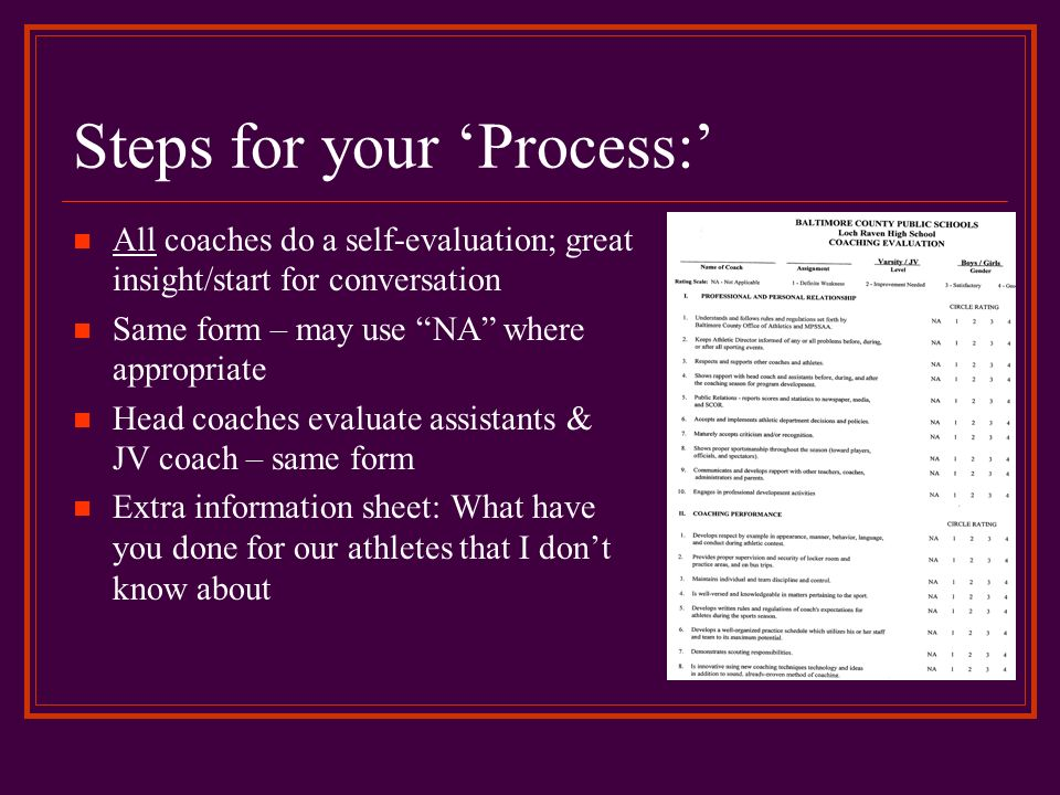 Steps for your 'Process:'