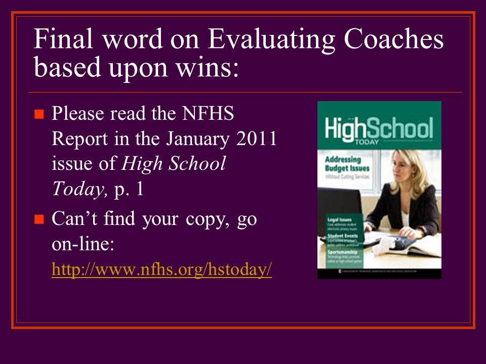 Final word on Evaluating Coaches based upon wins: