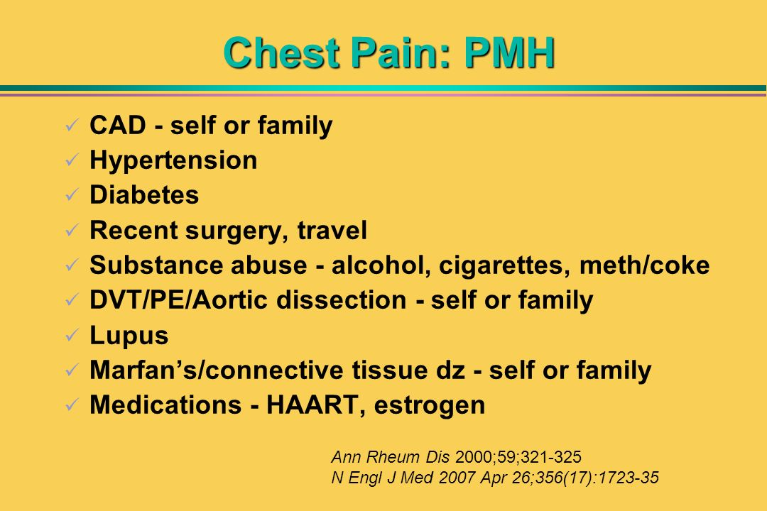 Chest Pain: PMH CAD - self or family Hypertension Diabetes