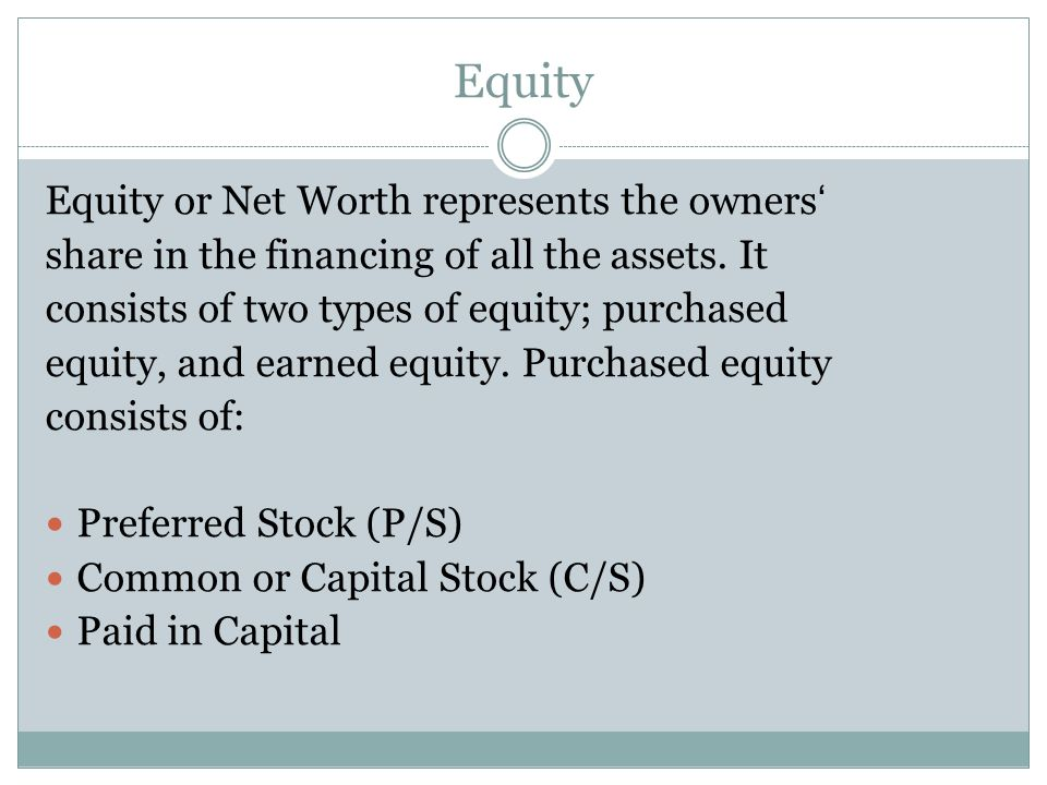 Equity Equity or Net Worth represents the owners'