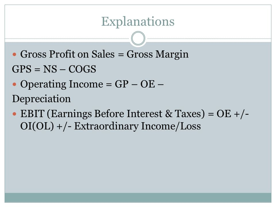 Explanations Gross Profit on Sales = Gross Margin GPS = NS – COGS